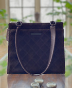 Suede Leather Small Tote Handbag In Brown