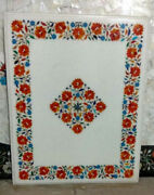 Pietra Dura White Marble Top Table Rare Inlay Antique Mosaic Collectible Ic5599