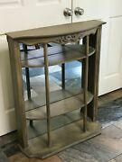 Antique Painted Curio Wall Mount Display Case Cabinet - Mirror Shelves