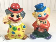 Vintage Pair Of Plastic Circus Clown Piggy Banks Polka Dot Peace Sign And Hobo