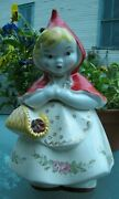 Antique Hull 967 Little Red Riding Hood Cookie Jar Pink Rose Decal 13 1/4 Tall