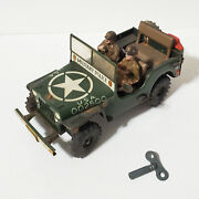Vintage Arnold Ww2 Us Army Military Jeep Wind-up Tin Toy 1950's W. Germany Rare