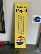 1960's Pepsi Tin Thermometer Advertising Sign Not Porcelain Or Coca Cola