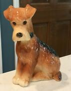 Vintage Copley Airedale Terrier Ceramic Dog Figurine Wheaten Terrier 6.25 Tall