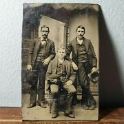 Antique Tintype Photo Of 3 Gangster Men Holding Bowler Hats 3 5/8 X 2 5/16
