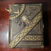 Antique Leather Photo Album Full W/ 32 Cabinet Card Portrait Photos From Pa