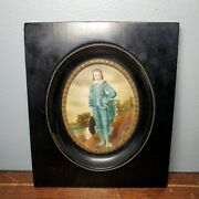 Early Miniature Hand Painted Blue Boy Portrait In Wood Frame Signed Gainsborough