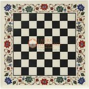 Marble White Handmade Indoor Chess Game Multi Stone Floral Design Birthday Gifts