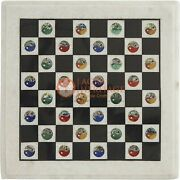 Handmade White Marble Chess Set With Chess Pieces Multi Stone Yin And Yang Arts