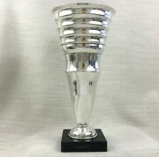 Large Silver Plated Vase French Modernist Mid Century Modern Marble Base Trophy