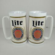 2 Vintage Miller Lite Label Plastic Thermo-serv Insulated Beer Steins Mugs