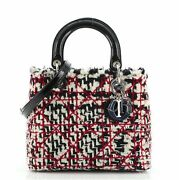 Christian Dior Lady Dior Bag Quilted Tweed With Patent Medium