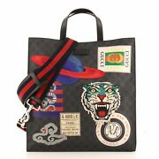 Courrier Convertible Soft Open Tote Gg Coated Canvas With Applique North