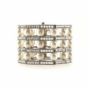 Three Row Wide Link Bracelet Metal With Crystals And Faux Pearls