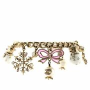 Snowflake And Snowman Charm Bracelet Crystal Embellished Metal With Faux