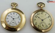 2 Vintage Elgin And Admiral Gold Filled Open Face Pocket Watches