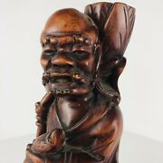 Vintage Carved Wood Immortal Japanese Fisherman Sculpture Statue Candlestick 12andrdquo