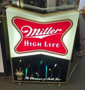1960and039s Miller High Life Bouncing Ball Light-up Motion Sign 3and039 X 2and039 Rare