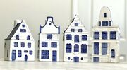 Rare 4 Piece Vtg Daic Delft Blue Hand Painted Canal House Canister Set