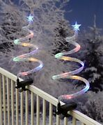 Set Of 2 Spiral Christmas Trees With Clips Porch Patio Deck Fence Outdoor Decor
