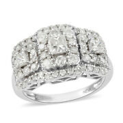 White Diamond Cluster Ring 14k White Gold Jewelry Size 6 Ct 2 H Color I3 Clarity