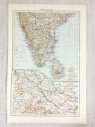 1898 Antique Map Of India Ceylon Southern Indian Provinces Old 19th Century