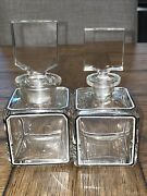 Antique St. Louis Crystal Or Baccarat 2 Vanity Perfume Bottles W/ B And W Trim