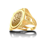 Jewelco London 9ct Gold Curb Links Square St George Ring Full Sov Size