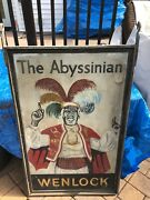 1911 Outdoor English Pub Sign Abyssinian Architectural Salvage Wenlock England
