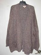 Womenand039s Evri Sweater Jacket Cardigan Brown Marl With Pockets Size 3x Nwt