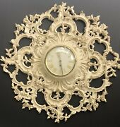 Syroco Wall Clock Jeweled 8 Day Early Molded Wood Original Stamp And Logo No Key