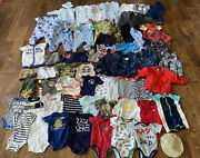 Big Lot Of Baby Boy Clothes 3-6 And 6 Months Pajamas Outfits One Piece ++ 63 Piece