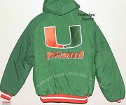 Vintage 90s U Miami Hurricanes Canes Jacket Apparel 1 Backpatch Hooded Nwt Nos