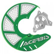 Acerbis X-brake Vented Front Disc Cover With Mounting Kit Green/white 1655270045