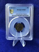 1916-s Lincoln Cent 1c Wheat Penny Pcgs Vf25 Very Fine Gold Shield Holder