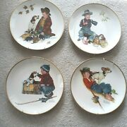 Norman Rockwell Four Seasons Set Of 4 Plates 1971 A Boy And His Dog Gorham 1958
