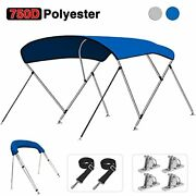 Kakit 750d 3 4 Bow Bimini Top Boat Cover With 2 Rear Support Poles + 4 Quick ...