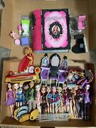 Mattel Ever After High Lot Of Dolls, Stands, Furniture, And Accessories