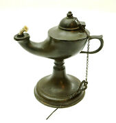 Antique 1800and039s Brass Or Bronze Whale Oil Finger Lamp With Pick 5.5 Tall As-is