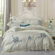 Luxury Embroidery Crown Egyptian Cotton Bedding Set Queen Bed Sheet Duvet Cover