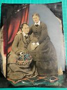 """Antique Tinted Tin Type Photograph Lesbian Women Holding Hands 8.5"""" X 6.5"""""""