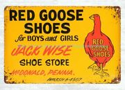 Decorative Items Red Goose Shoes Metal Tin Sign