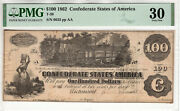 1862 100 Confederate States Of America Note Currency T-39 Pmg Very Fine Vf 30