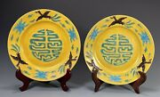 Pair China Chinese Porcelain Yellow Glaze Plates W/ Relief Crane Clouds And Shou