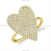 Gift For Her 14k Yellow Gold Natural Diamond Heart Band Birthday Ring