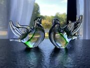 Pair Of Murano Doves Green/gold/clear W Sticker No Chips Cracks Or Flaking