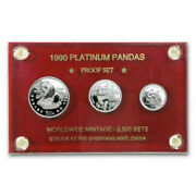 1990 China 3 Coin Platinum Panda Proof Set -rare - Decorated Wood Case And Holder