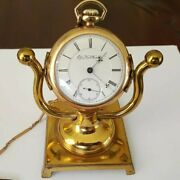 Antique, Elgin Pocket Watch W/chain, Knife, Stand. Serial 3701309, 15 Jewels
