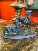 Early 20th Century Fine Bronze Signed Figurines Statue Of Two Playful Dogs