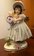 Antique Porcelain Dresden Lace Figurine Girl With Watering Can Rare Pristine